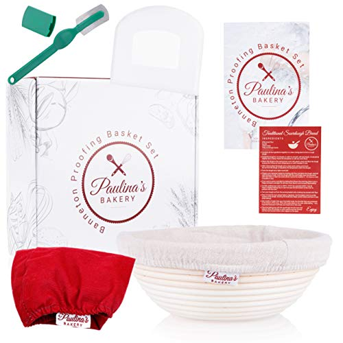Paulina's Bakery Original 9 Inch Banneton Proofing Basket Set | Premium Dough Proofing Baskets | Baking Bowl For Bread | Decorative Liner For Serving Scraper Lame Sourdough Starter Recipe | Gift box
