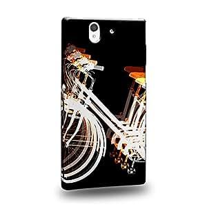 Case88 Premium Designs Art Psychedelic Bicycle Reversed Orange Carcasa/Funda dura para el Sony Xperia Z