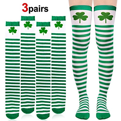 Konsait 3Pack St. Patricks Day Socks Shamrock Ireland Long Striped Over Knee Thigh High Green White Silk Stockings Women Girl Saint Patrick's Day Gift Accessories Party Favor Supplies ()