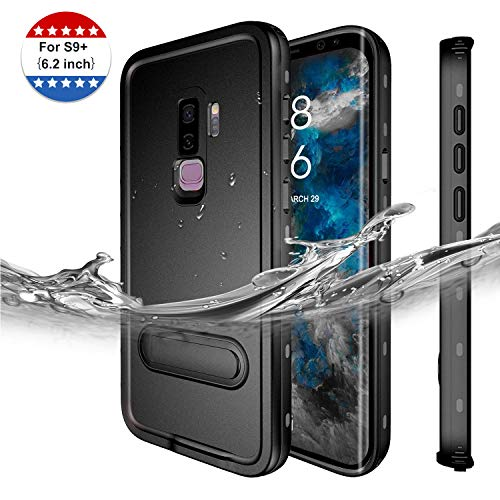 Galaxy S9+ Plus Waterproof Case, Full Body Protective Shockproof Snowproof Dustproof Dirtproof Case with Built-in Screen Protector, Touch ID Accessible case for Samsung Galaxy S9 Plus (Black)