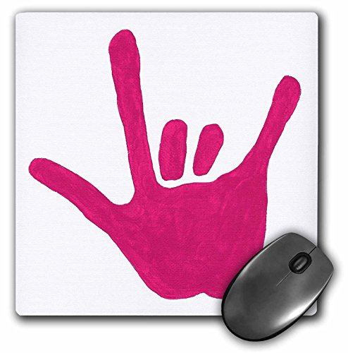 Price comparison product image 3dRose LLC 8 x 8 x 0.25 Inches Mouse Pad, Love Sign Language, Pink (mp_14308_1)