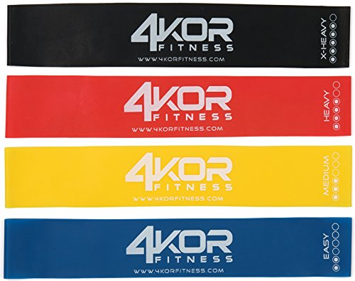 Set of 4 Resistance Loop Bands by 4KOR Fitness (12 x 2 Inch) for CrossFit, Yoga & Physical Therapy with Carrying Case
