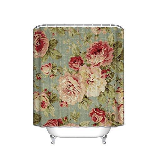Beautiful Rose Print (SUN-Shine Custom Beautiful Vintage Rose Floral Print Shower Curtain for Bathroom Fabric Waterproof With Hooks 72x84IN)