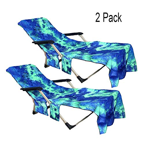 FLYMEI Beach Chair Cover, 2 Pack Soft Lounge Chair Beach Towel Cover for Pool, Hotel, Vacation with Side Pockets, Blue Chaise Longuere Cover for Sunbathing, 82.5''x29.5'' (Chairs Hotel Lounge Pool)