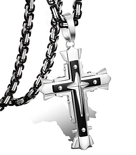 - LOLIAS 5MM Stainless Steel Cross Pendant Necklace for Men Byzantine Chain Necklace 22-30 Inches