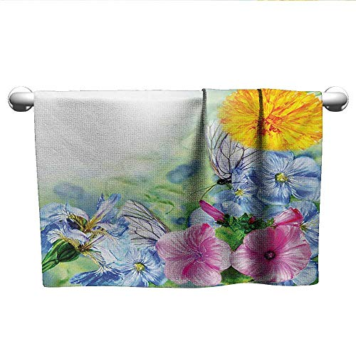 (alisoso Watercolor Flower,Sweat Towel Surreal Iris Peony Poppy Petals Paint with Moth Butterflies Wilderness Quick-Dry Towels Multicolor W 35