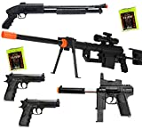 dark ops airsoft *lot of 5* airsoft guns sniper rifle & shotgun & uzi & 2 pistols & 2,000 bbs(Airsoft Gun)