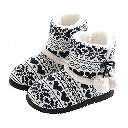 Casa Stivali Da Con Caldi Donna Pompons Blu Maglia Autunno Rojeam Peluche Pantofole Inverno YBtwqxC