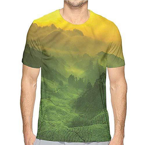 t Shirt Printer Nature,Sunrise Tea Plantation Field Junior