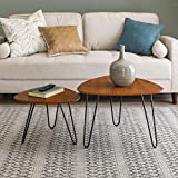 WE Furniture Mid Century Modern Hairpin Coffee Table Set Living Room, Nesting, Walnut