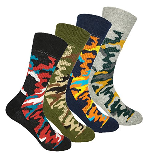 4 Pack Men's Digital Camo Crew Socks Colorful Custom Athletic Mid-calf Socks Stripe Mid Calf Socks