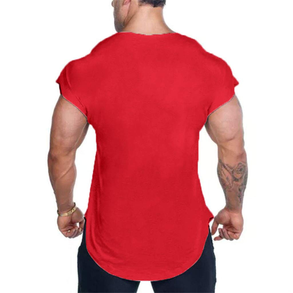 MISYAA T Shirts for Men, Solid Muscle T Shirt Breathable Sport Tank Top Basic Sweatshirt Tee Masculinity Gifts Mens Tops Red by MISYAA (Image #3)