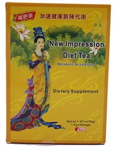 New Impression Diet Tea. Burn Fat Naturally, Boost Metabolism & Mobilize Stored Fats into Energy. Natural Herbal Slimming Tea with Lotus Leaf Extract. Improves Circulation & Immune Function. 40 Bags.
