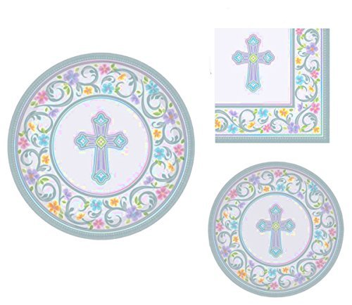 Inspirational Religious Party Supplies for 18 People: Dinner Plates, Dessert Plates and Napkins 72 Piece Bundle