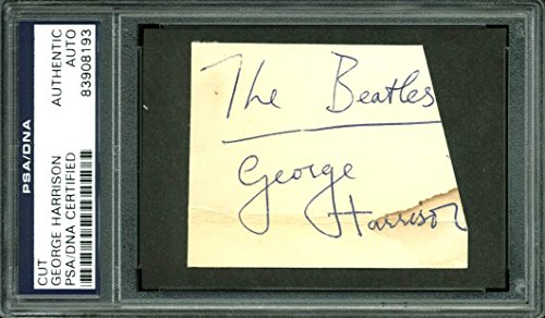 George Harrison The Beatles Authentic Signed 2.25×3 Cut Signature PSA Slabbed