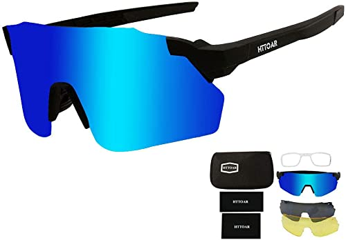 HTTOAR Cycling Glasses Sports Sunglasses with 3 Interchangeable Lenes