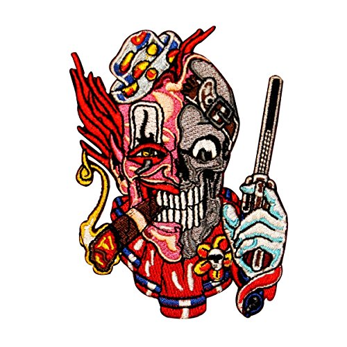 Skull Clown Pistol Embroidered iron on biker Patch