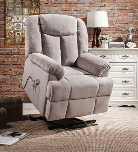 Acme Furniture Industry, INC Recliner with Power Lift and Massage in Light Gray Fabric