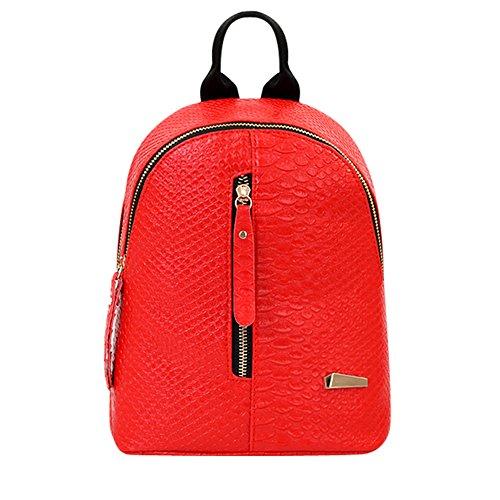 Fashion Women Backpack PU School Travel Casual Domybest Bag Shoulder Leather Rucksack Red SxgSqn