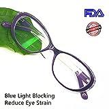 Reading Glasses Blue Light Blocking - Oval Computer Eyeglasses Frames for Women (Violet Crystal,0.25)