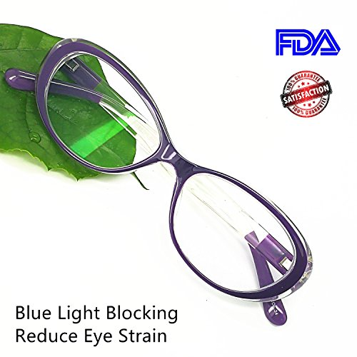 Reading Glasses Blue Light Blocking - Oval Computer Eyeglasses Frames for Women (Violet Crystal,0.25) (Violet Crystal Glass)