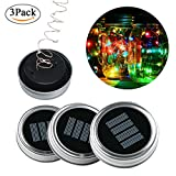 Kobwa 3 Pack Solar Mason Jar Lights,10 LEDs Multi-color Solar String Fairy Lights Lids Insert for Patio Garden,Wedding,Christmas Holiday Party Decorative Lighting