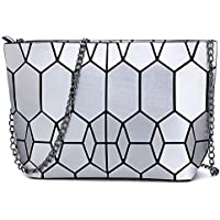 Kaisibo Geometric Purse Shoulder Handbags Crossbody Messenger Bag (Geometric Sliver)