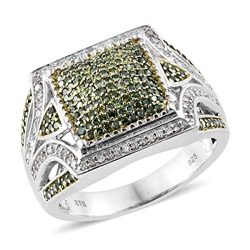 Green Diamond Cluster Ring 925 Sterling Silver Platinum Plated Gift Jewelry for Women Size 5 Ct - Ring Platinum Diamond Cluster
