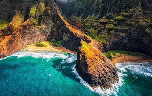 ビーチ、山、海、ハワイ、海、見晴らす、アメリカ - アート印刷 キャンバスポスター 家の壁の装飾ポスター(50x33cm)