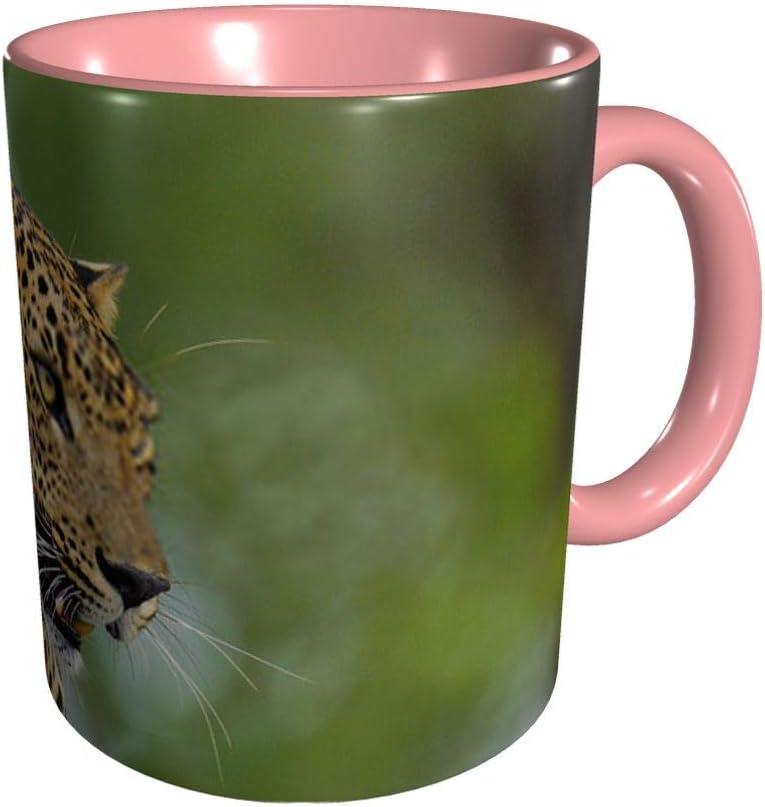 Leopardo Leopardo rugiente sobre una piedra La taza de café de cerámica de Sri Lanka 11 División Gu