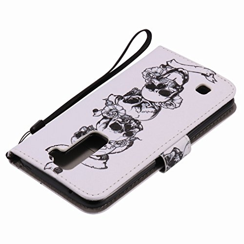 Yiizy LG K7 X210 MS330 Funda, Cráneo Diseño Solapa Flip Billetera Carcasa Tapa Estuches Premium PU Cuero Cover Cáscara Bumper Protector Slim Piel Shell Case Stand Ranura para Tarjetas Estilo