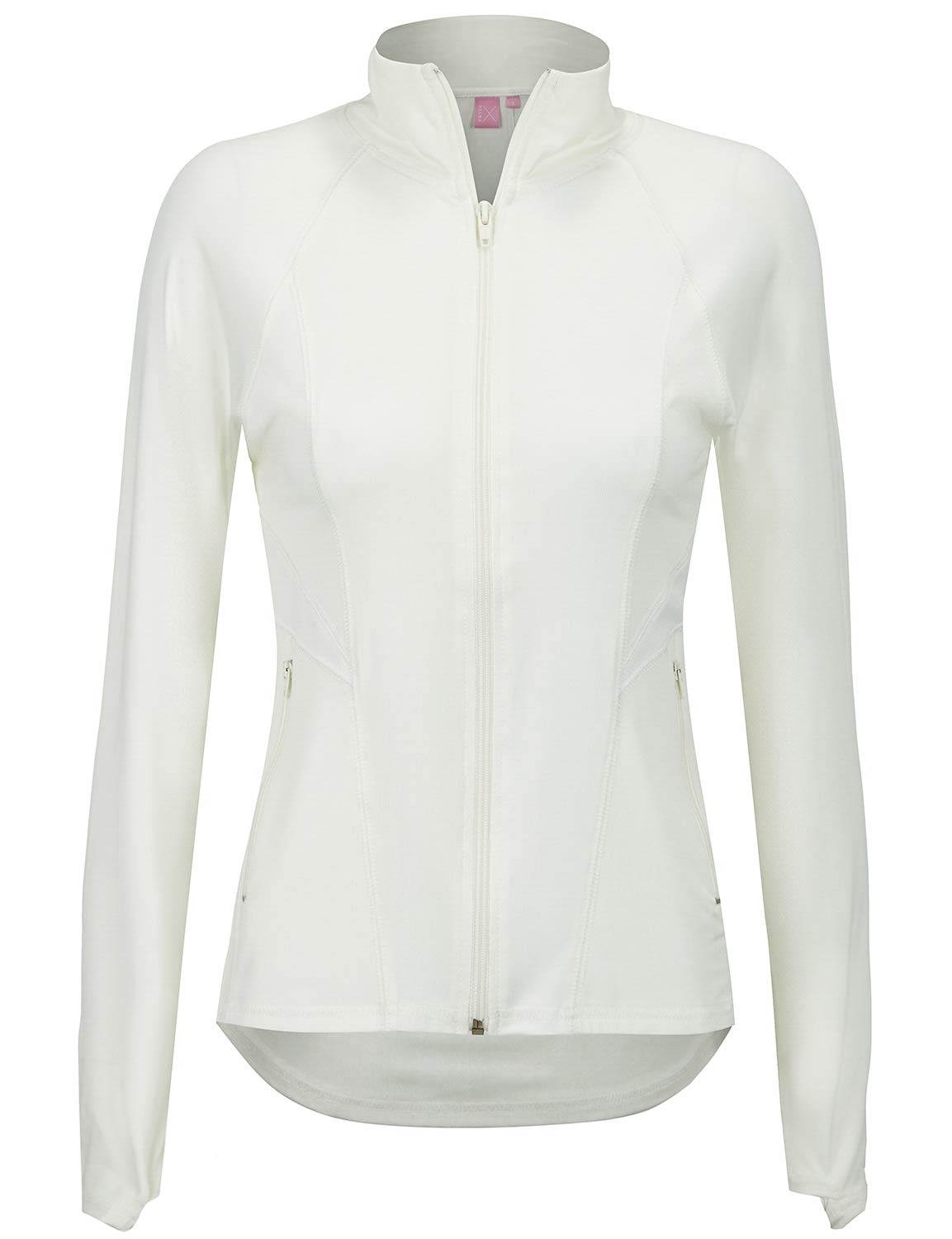Regna X Women's Full Zip Up Active Seamed Athletic Gym Track Jacket White S