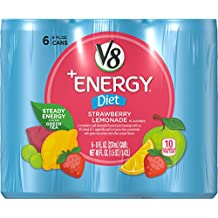 V8 +Energy, Diet Strawberry Lemonade, 8 Ounce, 6 Count (Pack of 4) (Packaging May Vary)