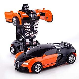 Refasy Best Birthday Gifts for Boys Girls 2-3 Year Old,Deformation Robot Car Toy for Children Deformation Vehicle Toys for Boys Xmas Birthday Gift Racing Deformation Toys for Kids Orange