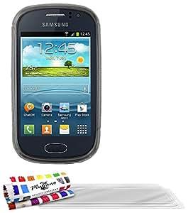 Muzzano F21336 - Funda para Samsung Galaxy Fame + 3 protecciones de pantalla, color gris