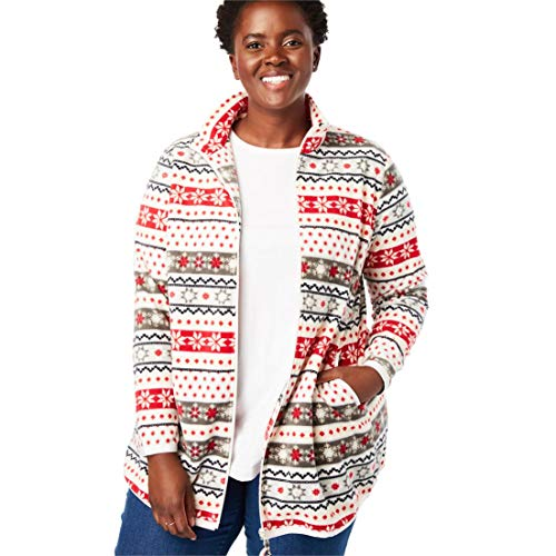 Woman Within Plus Size Zip-Front Microfleece Jacket - Fair Isle, ()