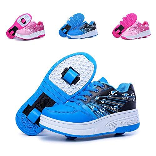 899d9efea306 EQUICK Kids' Roller Skate Shoes Single Wheel Double Wheel Fashion  Sneakers,CDLZ02,Blue(D),33