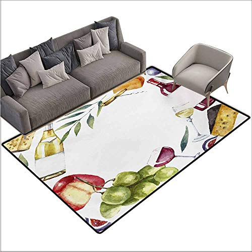 - Door Rug for Internal Anti-Slip Rug Wine Round Frame with Hand Painted Food Objects Watercolor Wine Cheese Fruits Collection Anti-Fading W78 xL106 Multicolor