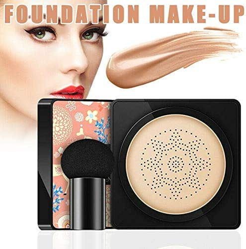 3-in-1 Air Cushion B.B Cream Moisturizing Brighten Concealer Foundation Powder Cake + Mushroom Head Sponge, Blocks SPF50+/PA+++ UV Rays, Whitening, Anti-Aging, Suitable for All Skin Types(20g)
