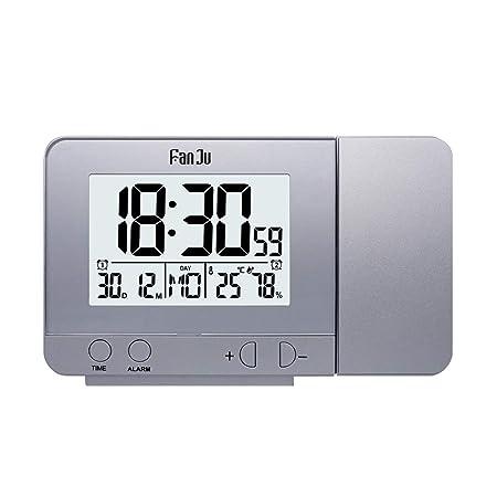 DRhomehouse FanJu Reloj de Alarma de proyección Giratorio Reloj de ...