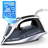 Professional Grade 1800-Watt Steam Iron with Digital LCD Screen, 3-Way Auto-Off, Double-Layer Ceramic Soleplate, Axial Aligned Steam Holes, Self-Clean with 9 Preset Steam & Temp Settings by PurSteam