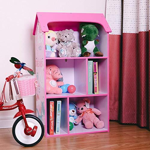Toffy & Friends Kids Pink Wooden Bookshelf with Storage,Dollhouse KidsRoomOrganizer Environmentally Friendly UV Paint Non-Toxic Lead Free