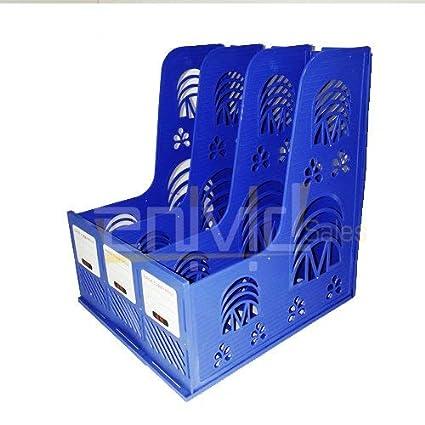 Bestow Multifunction Plastic Storage Hanger Section Divider File Paper Magazine Rack Holder Office Home Desktop Book Box Bookshelf 3 Section