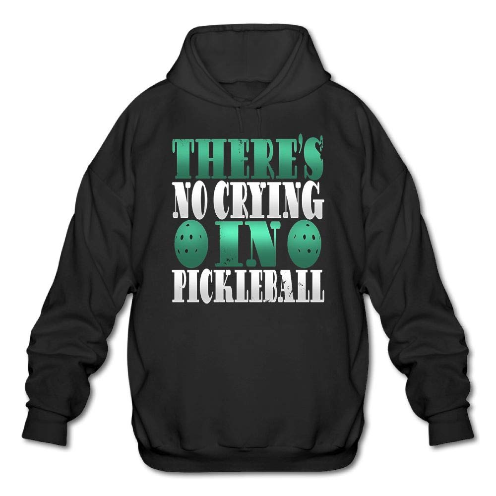 Haoshouru Mens Long Sleeve Cotton Hoodie Theres No Crying in Pickleball 5 Sweatshirt