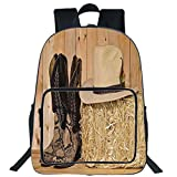 "19"" Large Casual Backpack,Western Decor,Snake Skin Cowboy Boots Timber Planks in Barn with Hay Old West Austin Texas,Cream Brown,for Boys Girls"