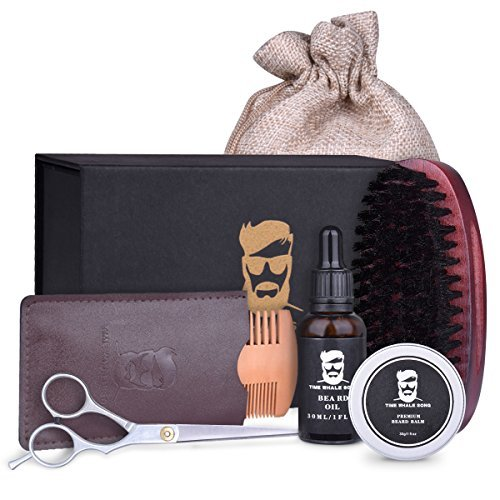 Beard kit - Beard Care, Grooming & Trimming Set for men, Included Beard Brush, Beard Comb, Unscented Beard Oil Leave-in Conditioner, Mustache & Beard Balm Butter Wax, Barber Scissors by TIME WHALE SONG