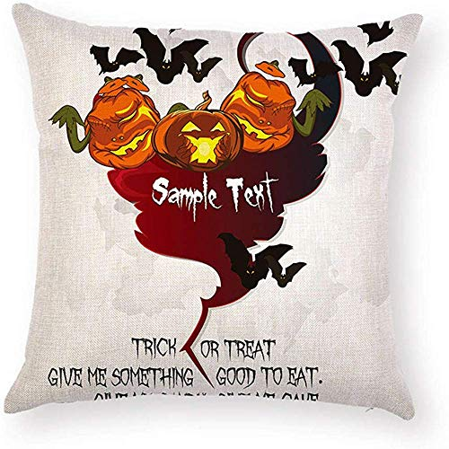 Fhdang Decor Lovely Fashion Funny Trick OR Treat GIVE ME Something Good to EAT Halloween Pillowcase Ugly Pumpkin Bat Pillow Case Cushion Cover Protector Square 18 x 18 inch for Living Room -