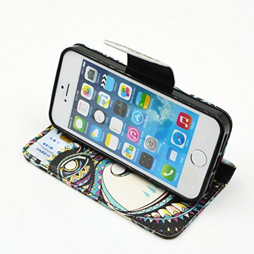iPhone 5 5S Case, Yaobai flip en cuir PU Wallet Card *** Magnetic PU cuir Wallet *** stand Case titulaire de la carte Shell cute adorable [animal] flip PU Housse en cuir Housse Wallet Card avec plusie