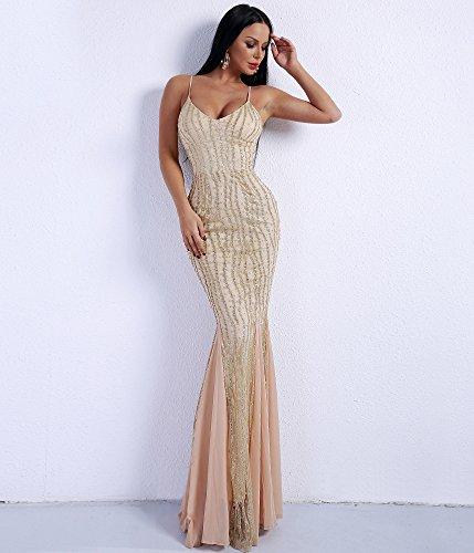 Missord da donna senza maniche con scollo a V Halter Sequin Maxi Prom cocktail Dress
