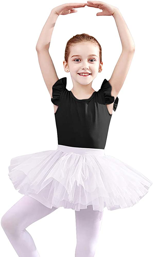 UK Girls Kids Ballet Dress Gym Leotard Glitter Tutu Skirt Ice Skating Dancewear